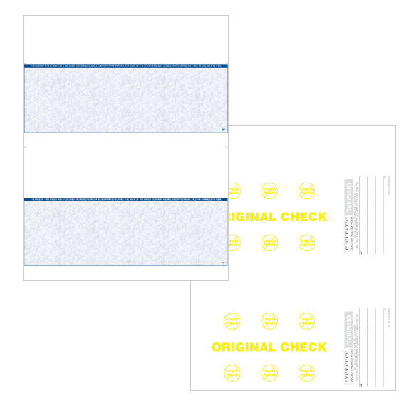 8.5 x 11 2-up blue blank check stock