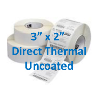 3 x 2 uncoated direct thermal labels