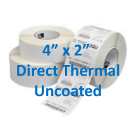 4 x 2 uncoated direct thermal labels