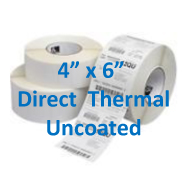 4 x 6 Direct Thermal Labels Uncoated