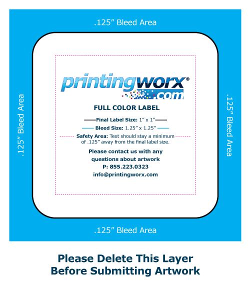 1 x 1 full color label template