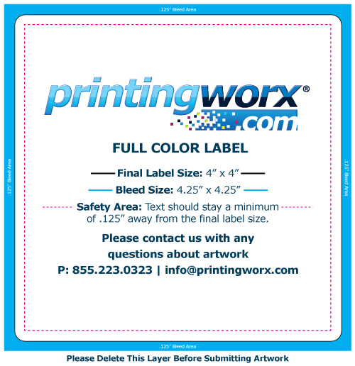 4 x 4 full color label template