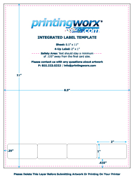 Integrated Label Templates And Guides From Printingworx - 4x2 label template