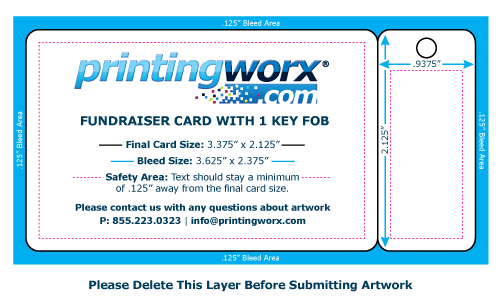 fundraising card template with 3 key fobs