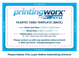 Plastic Card Template for Artwork Guidelines