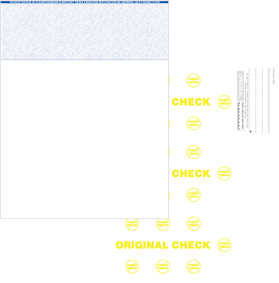 Blank Check Stock 8.5x11 1-Up Top Blue